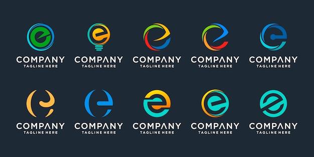 Ensemble De Modèle De Logo Créatif Lettre E. Icônes Pour Les Affaires De La Finance, Du Conseil, Simple. Vecteur Premium