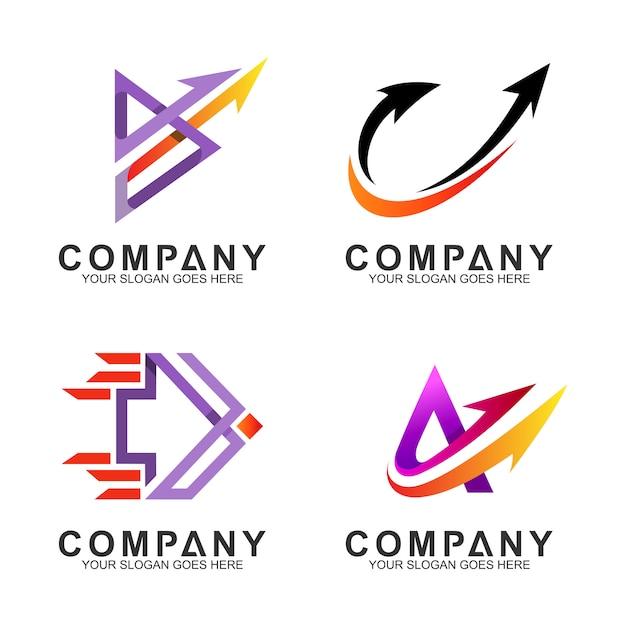 Ensemble de modèle de logo d'entreprise flèche Vecteur Premium