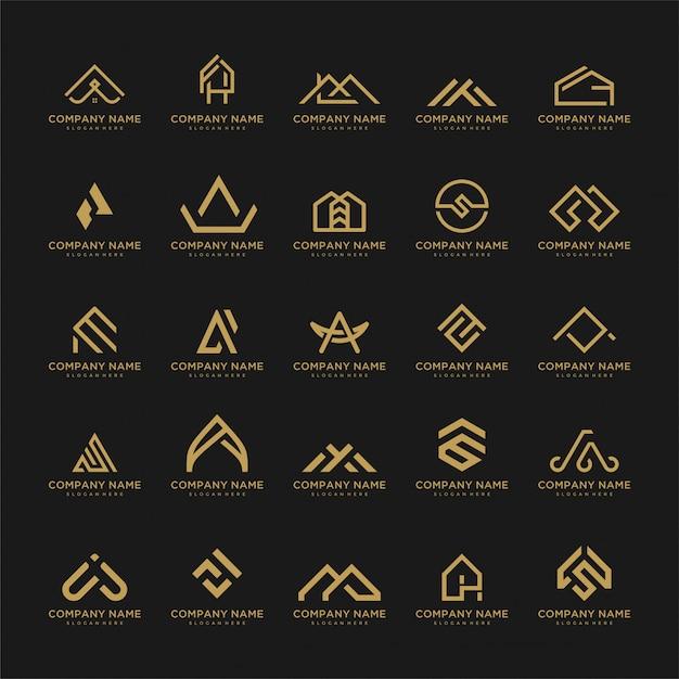 Ensemble De Modèle De Logo. Icônes Inhabituelles Pour Les Entreprises Universelles De Luxe, élégantes, Simples. Vecteur Premium