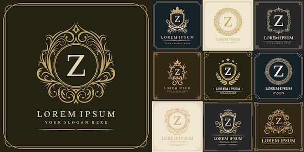 Ensemble De Modèle De Logo De Luxe, Type De Lettre Initiale Z Vecteur Premium