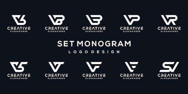 Ensemble De Modèle De Logo Monogramme Lettre V Vecteur Premium