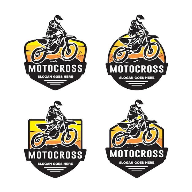Ensemble de modèle de logo de motocross Vecteur Premium