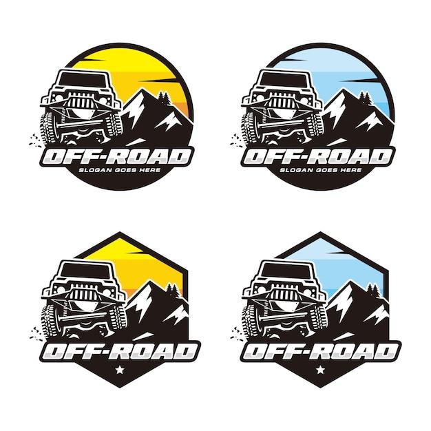 Ensemble De Modèle De Logo Off Road Vecteur Premium