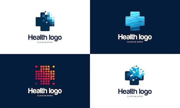 Ensemble De Modèle De Logo Pixel Health Vecteur Premium
