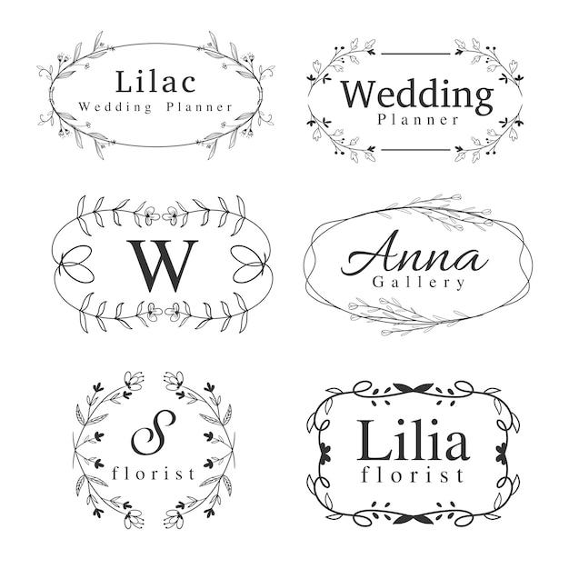Ensemble de modèle de logos de fleurs avec tourbillon dessinée à la main, cadre de bordure et verdure pour mariage Vecteur Premium