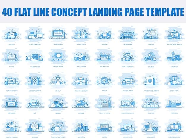 Ensemble de modèle de page de destination de conception de ligne plate Vecteur Premium