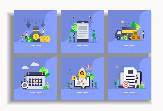 Ensemble de modèle plat, facile à modifier et à personnaliser Vecteur Premium