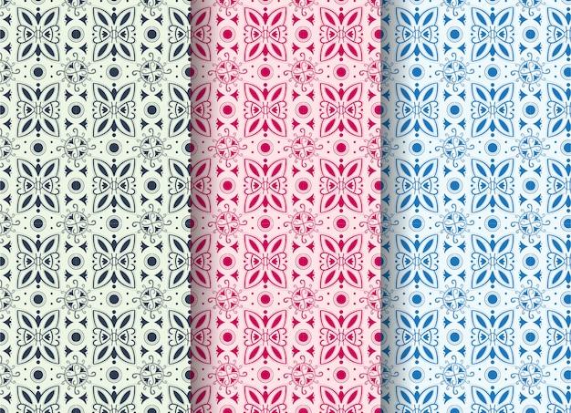 Ensemble De Modèle Sans Couture Abstrait Avec Des Formes Abstraites Comme Un Virus Et Un Papillon. Les Couleurs Pastel Sont Bleues, Violettes Et Roses. Vecteur Premium