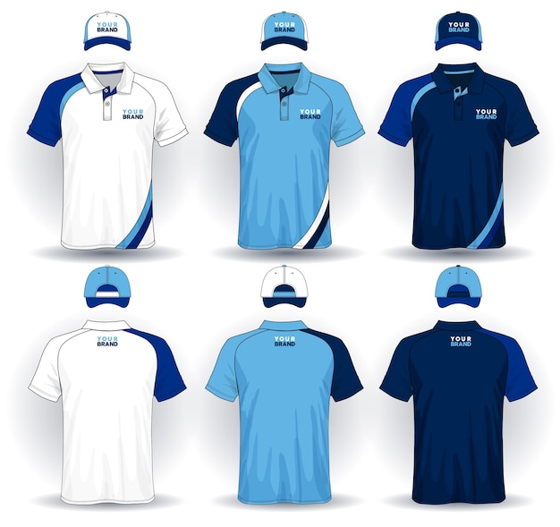 Ensemble de modèle uniforme, polos et casquettes. Vecteur Premium