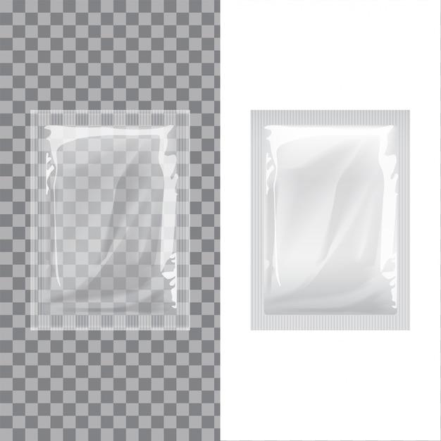 Ensemble De Modèle Vierge Emballage Lingettes Humides En Aluminium Pouch Medicine. Café D'emballage Alimentaire Réaliste, Sel, Sucre, Poivre, épices, Bonbons Vecteur Premium