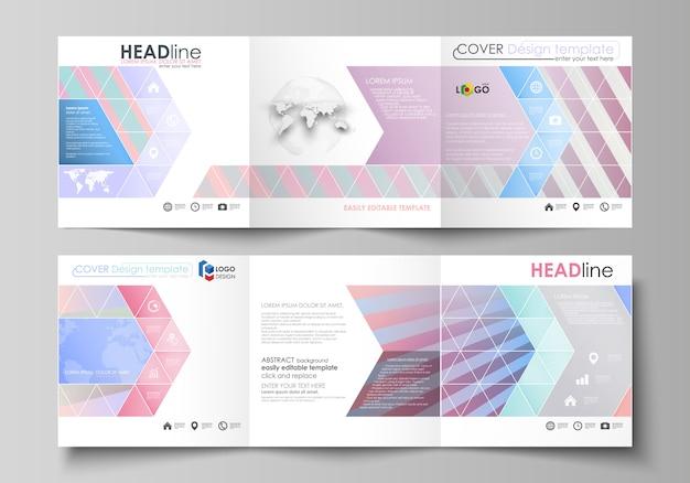 Ensemble de modèles d'affaires pour les brochures carrées tri pli. Vecteur Premium