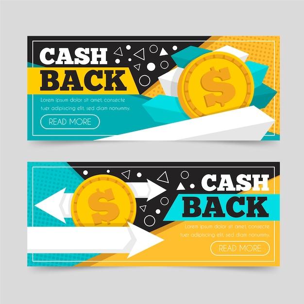 Ensemble De Modèles De Bannière De Cashback Vecteur gratuit