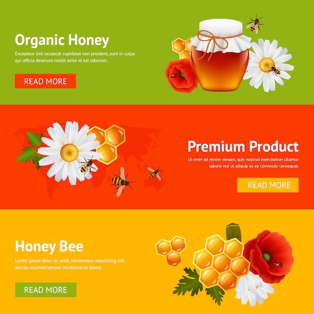 Ensemble de modèles de bannière de miel Vecteur Premium