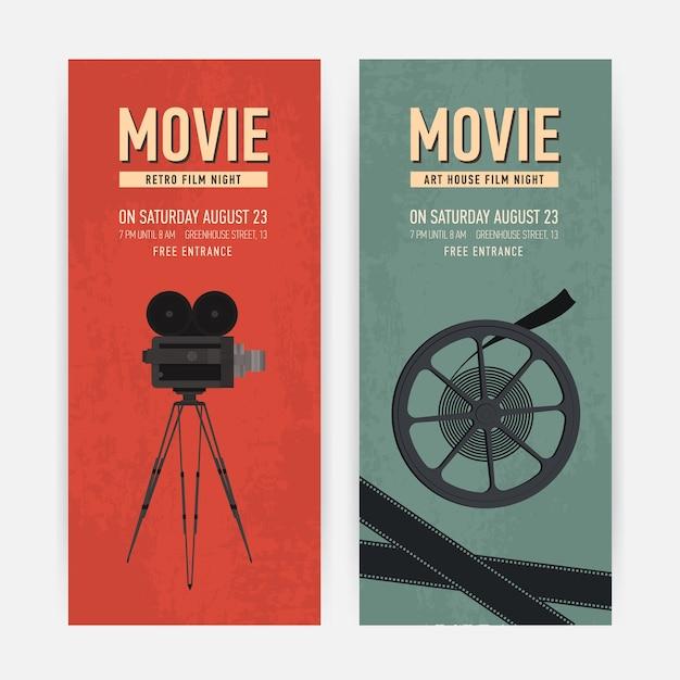 Ensemble De Modèles De Bannière Verticale Avec Ancien Appareil Photo Sur Trépied, Bobine De Film Et Place Pour Le Texte. Vecteur Premium
