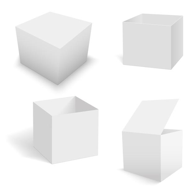 Ensemble De Modèles De Boîtes Carrées Blanches. Vecteur Premium