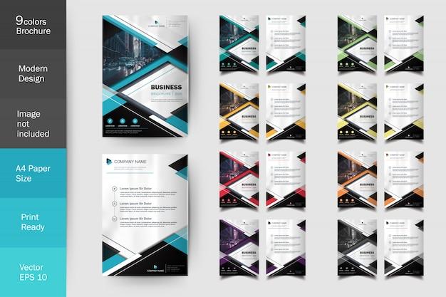 Ensemble de modèles de brochure flyer multi couleur moderne Vecteur Premium