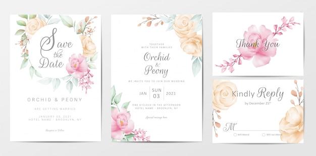 Ensemble de modèles de cartes d'invitation de mariage d'élégantes fleurs d'aquarelle Vecteur Premium