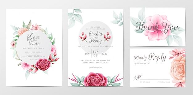 Ensemble de modèles de cartes d'invitation de mariage de fleurs élégantes Vecteur Premium