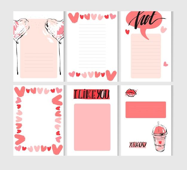 Ensemble De Modèles De Cartes De Saint Valentin Créatives Abstraites Dessinés à La Main Vecteur Premium