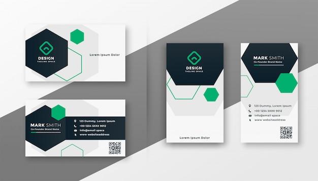 Ensemble De Modèles De Cartes De Visite Modernes De Style Hexagonal Vecteur gratuit