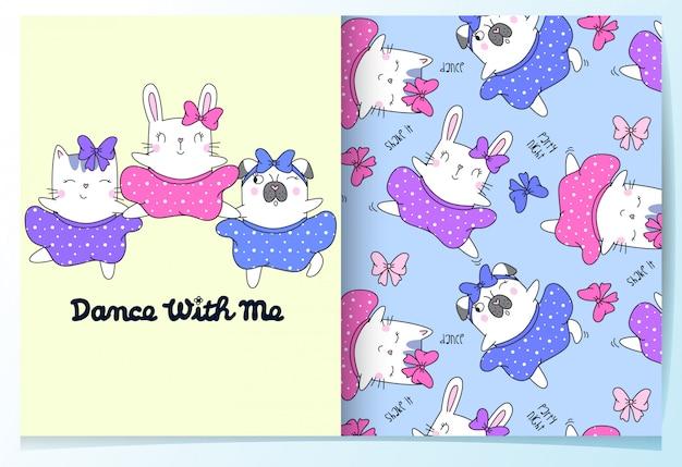Ensemble de modèles de chat, lapin et chien dessinés à la main Vecteur Premium