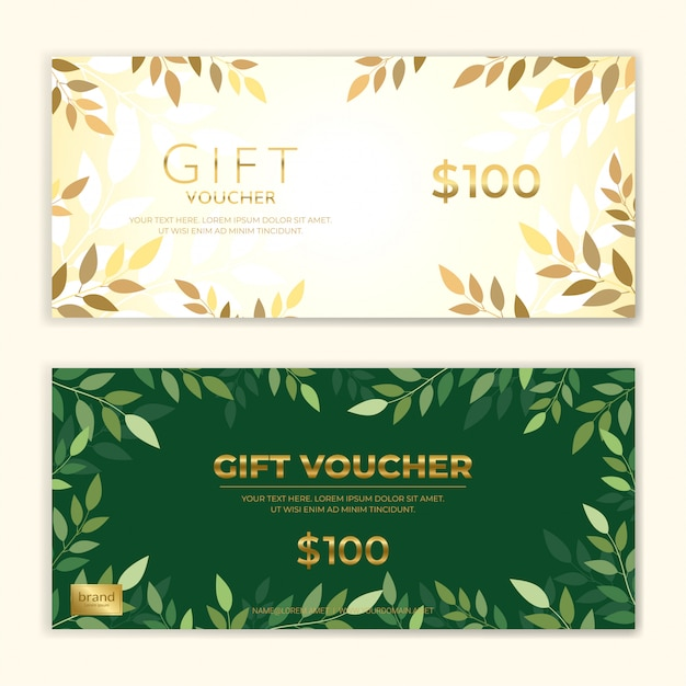 Ensemble De Modèles De Chèques-cadeaux Ou De Bons De Réduction Vecteur Premium