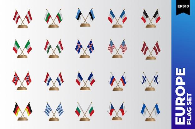 Ensemble de modèles de conception de drapeau européen Vecteur Premium