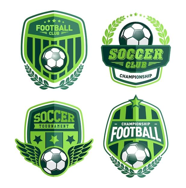 Ensemble de modèles de conception de logo de football Vecteur Premium