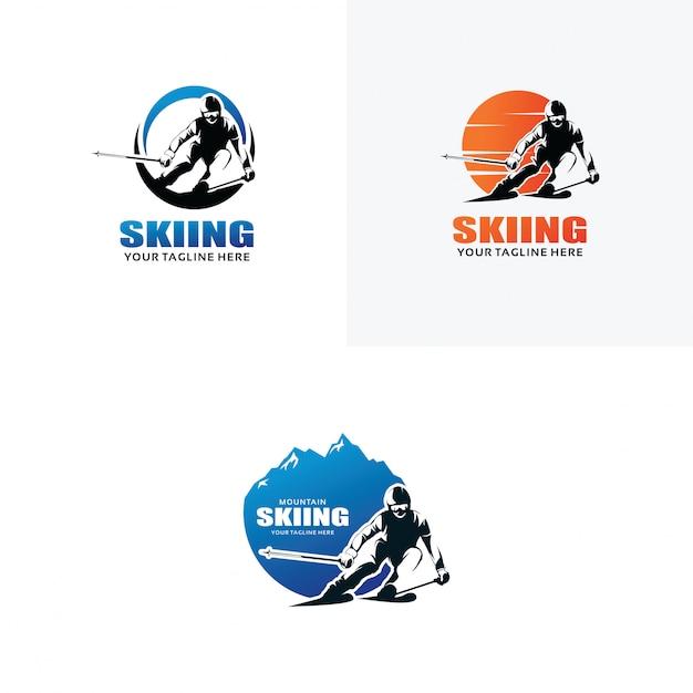 Ensemble de modèles de conception de logo de ski Vecteur Premium