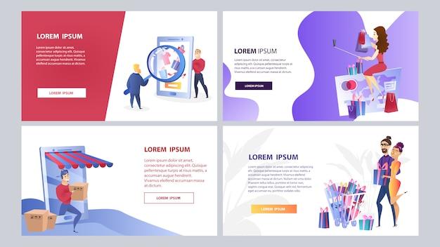 Ensemble de modèles de couleurs de marketing en ligne Vecteur Premium