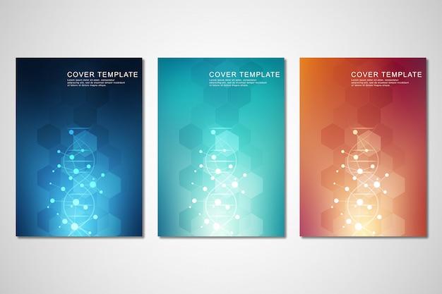 Ensemble De Modèles De Couverture Ou De Brochures, Avec Fond De Molécules Et Brin D'adn Vecteur Premium