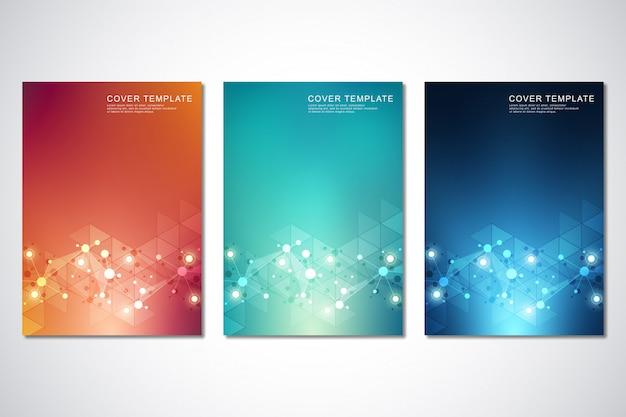 Ensemble de modèles de couverture ou de brochures, avec fond de molécules et réseau de neurones Vecteur Premium