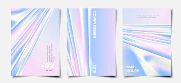 Ensemble de modèles de couverture hologramme pastel élégant Vecteur Premium