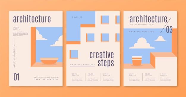 Ensemble De Modèles De Couvertures D'architecture Minimale Vecteur gratuit