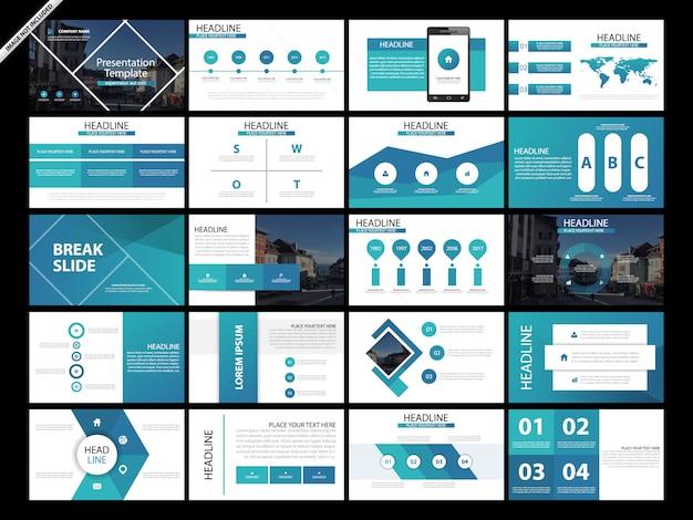 Ensemble de modèles de diapositives de présentation de 20 paquets Vecteur Premium