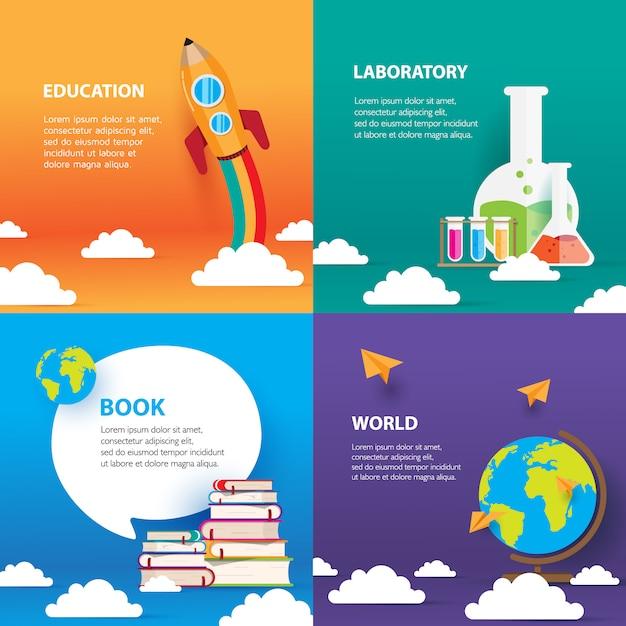 Ensemble De Modèles D'éducation, Avec Livre Et Globe Vecteur Premium