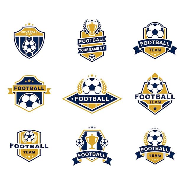 Ensemble De Modèles D'emblèmes De L'équipe De Football Vecteur gratuit