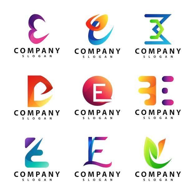 Ensemble de modèles de lettre e logo Vecteur Premium