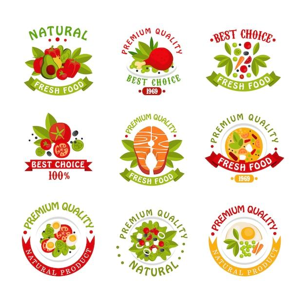 Ensemble De Modèles De Logo Alimentaire De Qualité Supérieure, Illustrations De Produits Naturels Sur Fond Blanc Vecteur Premium