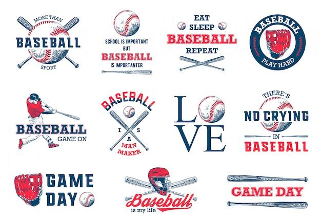 Ensemble De Modèles De Logo De Baseball Dessinés à La Main Vecteur Premium