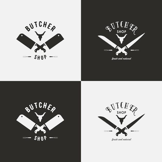 Exemple Logo ensemble de modèles de logo de boucherie. étiquettes de boucherie