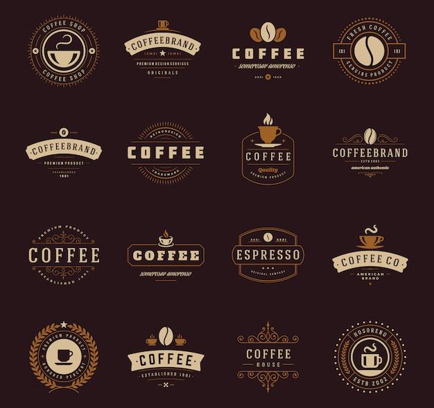 Ensemble de modèles de logo de café Vecteur Premium