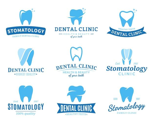 Ensemble De Modèles De Logo De Clinique Dentaire. Vecteur Premium