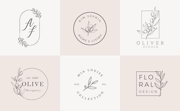 Ensemble de modèles de logo. création de logo élégant avec feuilles, branche et couronne Vecteur Premium