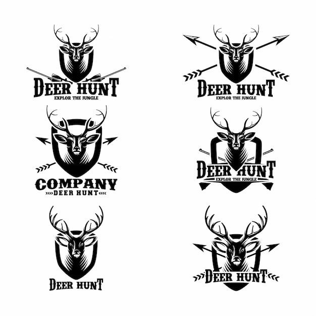 Ensemble de modèles de logo deer hunt Vecteur Premium