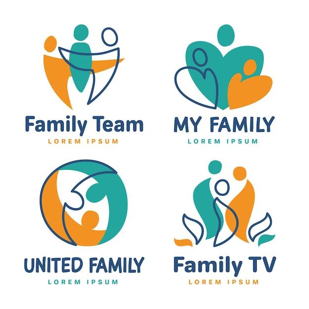 Ensemble De Modèles De Logo De Famille Vecteur gratuit
