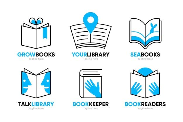 Ensemble De Modèles De Logo De Livre Design Plat Vecteur gratuit