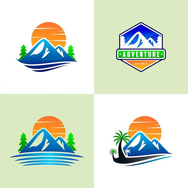 Ensemble de modèles de logo de montagne Vecteur Premium