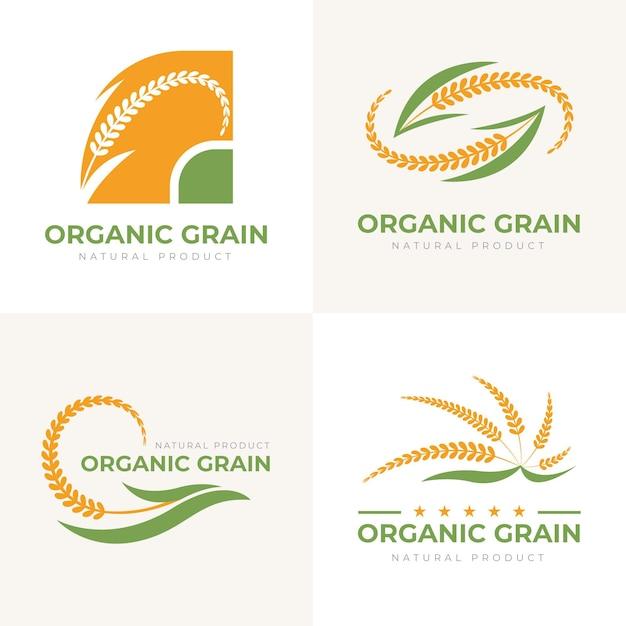 Ensemble De Modèles De Logo De Riz Vecteur Premium