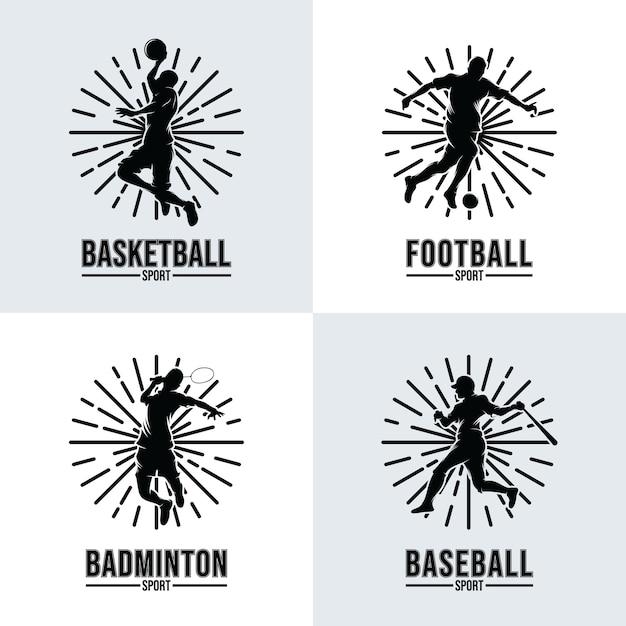 Ensemble De Modèles De Logo De Sport Vecteur Premium